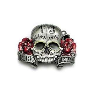 Lucky 13 Split Skull Belt Buckle Hidden Lighter Roses: Clothing