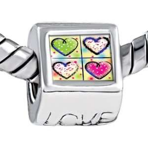 Beautiful Hearts Engraved Love Beads Fits Pandora Charm