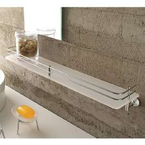 1513 Frosted Glass 24 Inch Bath Bathroom Shelf With Railing 1513: Home