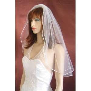 1T Ivory Shoulder Satin Rattail Rhinestone Wedding Veil