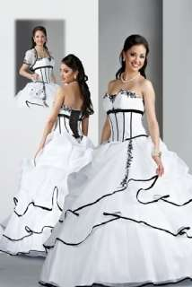 Black White Bridal Gown Prom Deb Wedding Dress Party