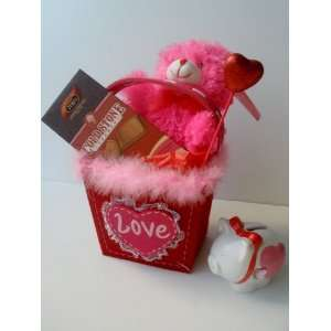 LOVE Doilly Fluffy Fabric Gift Bag with Cold Stone Creamery Filled
