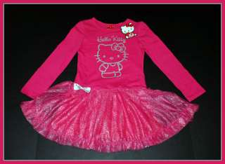 NWT Sanrio Hello Kitty Girls Pink~Silver Sparkle Tutu Ruffle Dress
