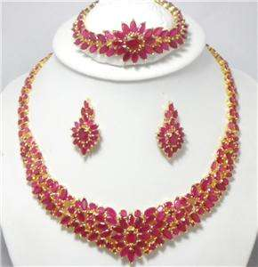 12,995 18k, 14k gf Mada Ruby Necklace,bracelet & earrings Gold, 3