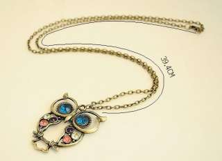 Vintage Colorful Nice Owl Carved Hollow Chain Necklace