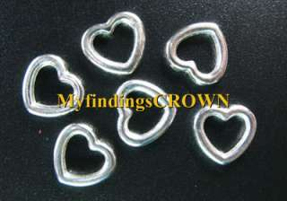 150 Pcs Tibetan Silver smooth open heart charms FC826