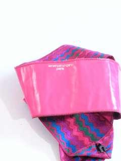 Vtg 80s colorful pink blue green purple zigzag silk avant garde UNGARO