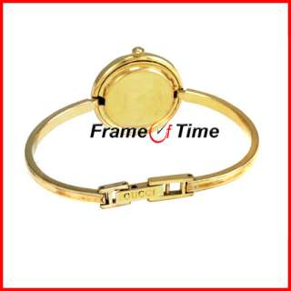 Ladies Gold Bangle Bracelet Bezel Silver/Gold/Black 1100 Watch