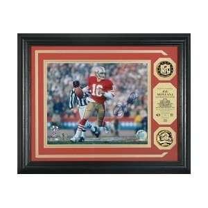 Joe Montana San Francisco 49ers Signed Photomint w/ 2 Gold