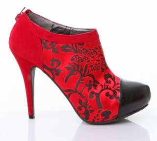 NEW FASHION UNIQUE RED BLACK HIGH HEEL PLATFORM BOOTIE BOOTS 7