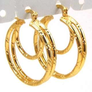 TOP EMPAISTIC 3 RING 18K YELLOW GOLD PLATED SOLID FILL GP HOOP EARRING