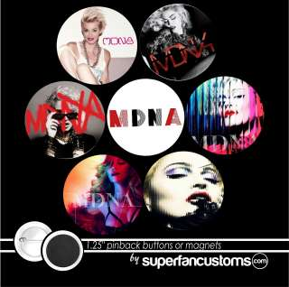 Madonna MDNA SET OF 7 BUTTONS or MAGNETS tour pins 1.25 badges 1745