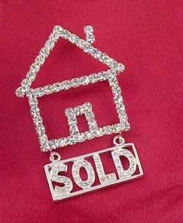AUSTRIAN CRYSTAL RHINESTONE REALTOR SOLD HOUSE PIN