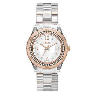 RELIC CLEAR ACRYLIC+ROSE GOLD WOMENS WATCH+CRYSTALS MODEL# ZR11901 NEW