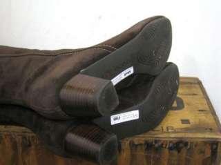 ECCO Womens Dark Brown Suede Leather BREMEN Tall Heeled Boots sz 38 $