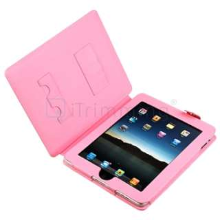 Pink Leather Skin Case+Home+Car Charger For iPad 1 3G