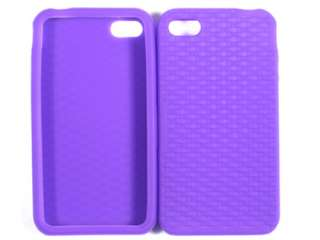 PURPLE ARGYLE SILICON RUBBERIZED SOFT GEL SKIN CASE COVER APPLE IPHONE