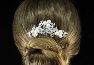 Wedding Flower White Faux Pearl Hair Comb T1362