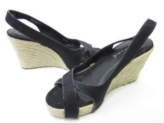 STEVEN BY STEVE MADDEN Black Slingbacks Wedges Sz 10