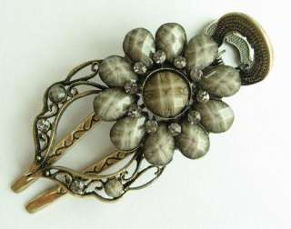 SWAROVSKI CRYSTAL BIG BRONZE SUNFLOWER HAIR BARRETTE CLIP 1551