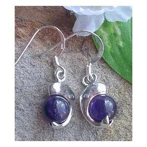 Sterling Silver Sperm WHALE Amethyst Earrings Jewelry