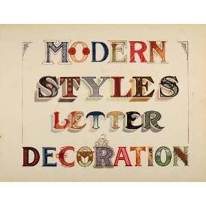 1910 Print Graphic Design Capital Letters Art Nouveau   Original Print