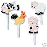 FARM ANIMALS CAKE/CUPCAKE PIC PICS PICK PARTY PIG, COW