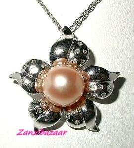 14K WHITE GOLD PINK PEARL & DIAMOND FLOWER PENDANT