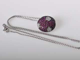 Salavetti Lovely 18K White Gold Diamond Ruby Necklace