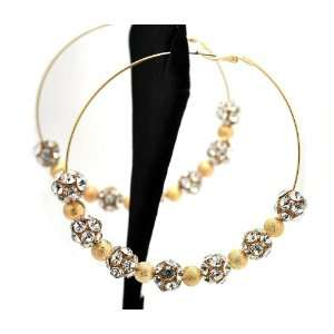 Basketball Wives Paparazzi Ball Earrings Pe42119 Gold 85mm Jewelry