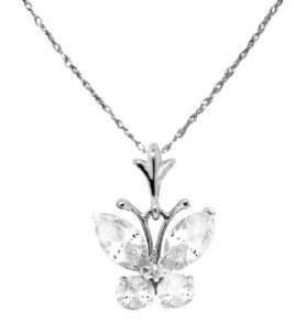 14K White Gold Created Marquise and Round Diamond Butterfly Pendant