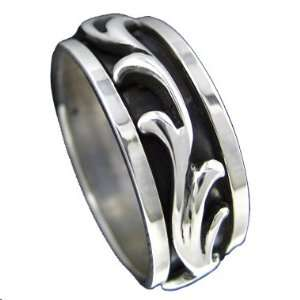 925 Silver TRIBAL Spinner Ring Size 8.5: Jewelry