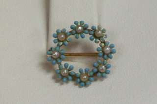 14K Yellow Gold Blue Enamel and Seed Pearl Flower Pin