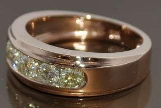 DIAMOND WEDDING RING 14K ROSE GOLD 1.2CT ROUND MENS BAND 8MM BLACK