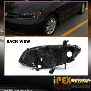 R8 Style LED 04 05 Honda Civic Hybrid/EX/DX/GX/HX BLACK Projector