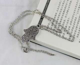 pcs Tibetan silver Hamsa Hand Pendant Necklaces