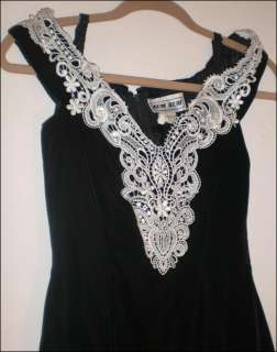 Black Velvet Dress White Sparkle trim Womens 3 4 Zum Zum