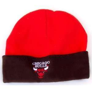 NBA Chicago Bulls Cuff Fleece Beanie Cap Hat  Red Black: