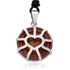 Love Heart Circlew/ Wood Stainless Steel Pendant Necklace Jewelry