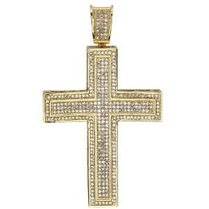 18K Yellow Gold Plated CZ Cubic Zirconia Hip Hop Mens Religious Cross