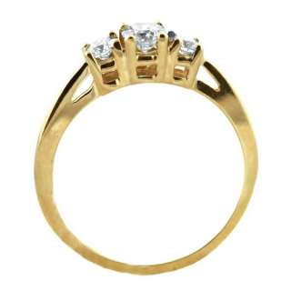 50cts 3 Stone Round Genuine Diamond Solitaire Solid Yellow Gold