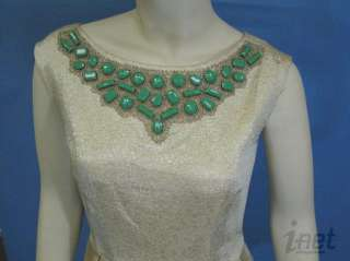 Shoshanna Sz 6 Boatneck Party Dress Antique Gold w/Beading Green
