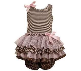 Jean Baby Girls Multi Tier Mesh Easter Spring Dress w/ Satin Bows 24M