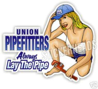 Union PIPEFITTERS hard hat   sticker decal Union