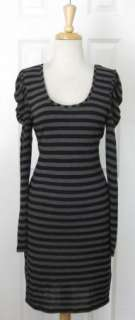 Gorgeous REISS Gray & Black Strpped Shift Dress Sz M