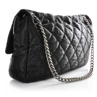 CHANEL Satin Quilted XL Flap Maxi Bag Purse Black CC