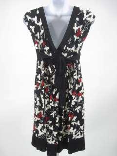 LONDON TIMES Black White Red Floral Sleeveless Dress