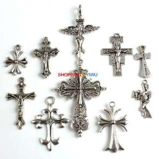 20 Assorted Cross Tibetan Silver Charms Pendant G524