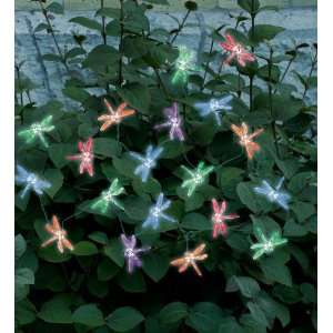20 LED Multi Color Dragonflies Solar Light String Patio