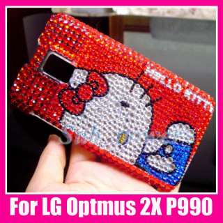 Hello Kitty Bling Back Case Cover LG Optimus 2X P990 RD